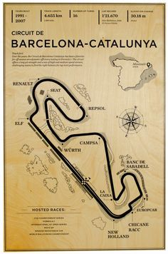 "Crafted 20"" x 13"" Wood Mural of Circuit de Barcelona-Catalunya. These pieces of art are are created by digitally laying thick layers of ink on to fresh sheets of 1/4"" Baltic Birch veneer. A high powered UV light is then used to cure the ink for permanent and durable adhesion. The wood has a slightly glossy finish for a"
