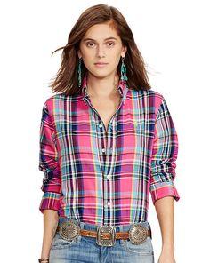 Polo Ralph Lauren Plaid Cotton Twill Shirt - Polo Ralph Lauren Long Sleeve  Chemisier, Chemise 463b7f01d4f
