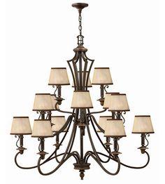 Hinkley Lighting Plymouth 15 Light Chandelier in Olde Bronze 4249OB #lightingnewyork #lny #lighting