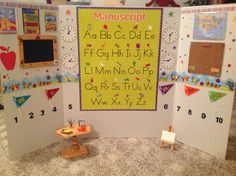 American Girl School room, 3 fold project board, Dollar store blackboard and all the wall decorations, the maps and posters printed front internet, desk and easle from AC Moore
