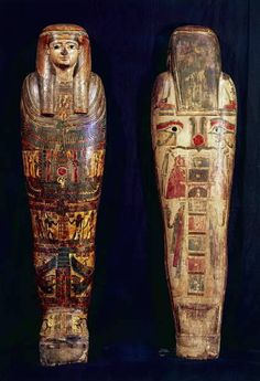 Inner Sarcophagus of Mummy Painted wood. Late Period to Ptolemaic Period, ca. Now in Casa Museo Lodovico Pogliaghi, Varese, Italy. Ancient Egyptian Art, Ancient History, Egyptian Things, Egypt Mummy, Egypt Museum, Visit Egypt, Painted Wood, Painting On Wood, Antiques