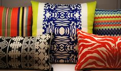 The hot trend in pillows! Peruvian Collection inspired by Machu piccu. Patterns from ancient culture mixed with bright colors for a modern look. Indoor/outdoor fabrics that are stain, kid pet resistant.