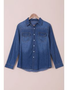 Denim Turn Down Collar Long Sleeves Shirt - BLUE S   Material: Cotton   Material Type: Denim   Shirt Length: Regular   Sleeves Length: Full   Collar: Turn-down Collar   Pattern Type: Solid   Style: Fashion   Weight: 0.300kg   Package: 1 x Shirt