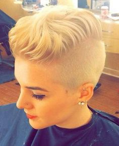 Blonde Shaved Hairstyles 2017 with Short Tousled Short Hair Shaved Sides, Shaved Pixie Cut, Short Shaved Hairstyles, Shaved Hair Women, Shaved Hair Cuts, Half Shaved Hair, Short Hair Undercut, Undercut Hairstyles, Shaved Side Haircut