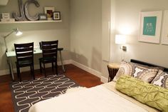 Photos of well-designed basement bedrooms; nice ideas for unfinished basement space (create a guest room, office, etc)