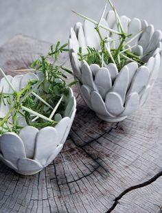 Nature inspired ceramic pots.