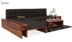 Cortez L-Shaped Wooden Sofa (Teak Finish)-1