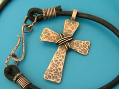 Mens Hammered Cross Necklace Mens Copper Cross by TheCaptiveHeart