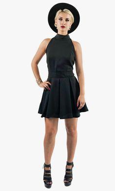 Black Halter Neck-Line Mini Dress - Style Link Miami