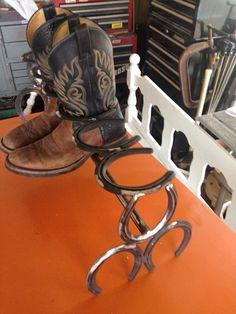 Horse shoe boot rack on Etsy, $45.00