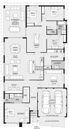 BG Notes: Swap theatre and laundry / scullery for access from garage Sims House Plans, Family House Plans, Bedroom House Plans, New House Plans, Dream House Plans, House Floor Plans, House Rooms, Home Design Floor Plans, Plan Design