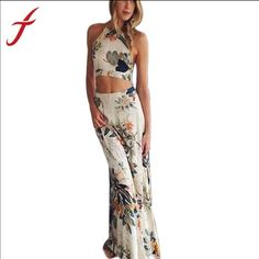 Summer Long Maxi Sexy Cross Backless Dress Size S Perfect for summer. This elegant Sexy Back Maxi Dress in Floral Print 2-piece is made of Cotton/Polyester material. Very soft fabric. Size small fits for 25-27 waistline, 33-35 hip size. Dresses Maxi