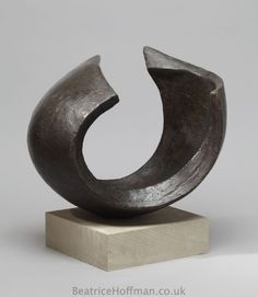 Bronze resin #sculpture by #sculptor Beatrice Hoffman titled: 'abstract Wave 1 (Minimalist Curling Wave sculpture)'. #BeatriceHoffman