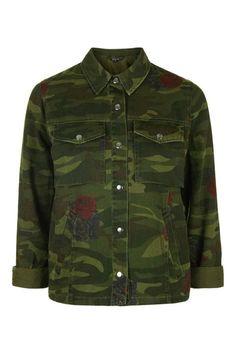 Photo 1 of Rose Printed Camo Shackett Punk Fashion, High Fashion, Always Cold, Topshop, Cute Jackets, Spring Jackets, Lightweight Jacket, Military Jacket, Camo