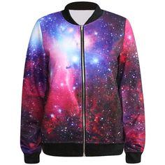 Omifa Galaxy-Print Zip Jacket ❤ liked on Polyvore featuring outerwear, jackets, zip jacket, zipper jacket, galaxy jacket ve galaxy print jacket