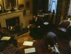 Interior of Granada set of Baker Street wirh Jeremy Brett as Sherlock Holmes. Love this interior set. Sherlock Holmes John Watson, Dr Watson, The Blue Carbuncle, The Reichenbach Fall, Agatha Christie's Poirot, Jeremy Brett, Mrs Hudson, 221b Baker Street, Private Life