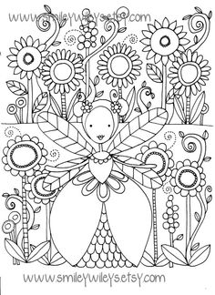 Fairy Happy Printable Colouring Book Pages Set of 5