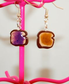 Peanut Butter & Jelly Earrings  Polymer Clay  Kawaii by PunkInPink