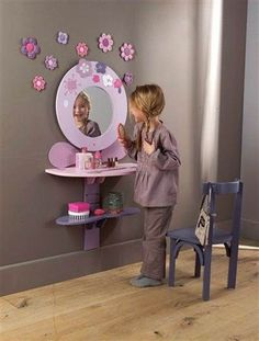 Do you want to decorate a woman's room in your house? Here are 34 girls room decor ideas for you. Tags: girls bedroom decor, girls bedroom accessories, girls room wall decor ideas, little girls bedroom ideas Little Girl Rooms, Little Girls, Little Girl Vanity, Daughters Room, Kids Decor, Decor Ideas, Boy Decor, Wall Decor, Kid Spaces
