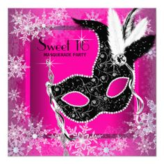 Hot Pink Black Snowflake Sweet 16 Masquerade Party Custom Announcements today price drop and special promotion. Get The best buyHow to          	Hot Pink Black Snowflake Sweet 16 Masquerade Party Custom Announcements lowest price Fast Shipping and save your money Now!!...