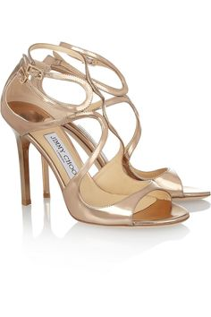 Jimmy Choo | Lang mirrored leather sandals | NET-A-PORTER.COM