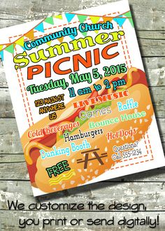 Summer Picnic BBQ Flyer Block Party ~ Of July ~ EVENT Flyer ~ Poster ~ Or ~  Digital Invite Template ~ Invitation By DitDitDigital On Etsy