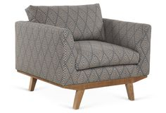 Carmel Chair, Teal/Taupe by Benchmade by Brownstone - Midcentury Modern-esque chair