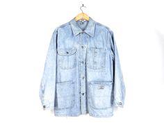 90s Guess Workwear Denim Jacket / Jean Jacket / Barn /Chore Coat USA Made - Bleached Light Blue - Unisex Men Medium M Women Large L VINTAGE by Iterations on Etsy