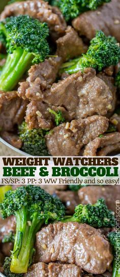 Beef and Broccoli is a healthy Chinese food option with tender slices of meat and tender broccoli in less than 30 minutes and just a few ingredients and just 3 weight watchers smart points per serving!