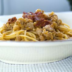 Bacon, Spaghetti, Food And Drink, Pasta, Dinner, Ethnic Recipes, Dining, Food Dinners, Pork Belly