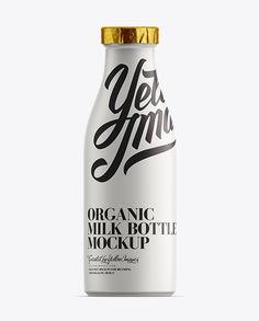 Milk Bottle W/ Foil Lid Mockup. Preview