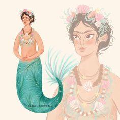 Frida mermy by Rachel Corcoran #mermay   .  .  #mermaid #fridakahlo #mermy #mermaids #mermaidlife #mermaidlove #fridak #illustration #illustrationartist #illustrator #illustrationart #myart #mydrawing #artistsoninstagram #illustratorsofinstagram #womenwhodraw #mexican #artist #illustrationdaily #illustrationage