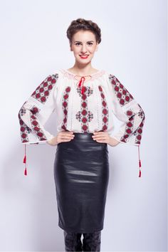 Ie traditionala romaneasca cu maneca lunga.wooooow.love this Romanian traditional blouse with the leather skirt,so pretty