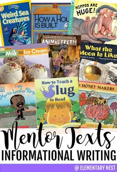 informational writing mentor texts, strong read alouds for informational writing practice Writing Mentor Texts, Expository Writing, Informational Writing, Narrative Writing, Writing Lessons, Informative Writing, Writing Practice, Writing Worksheets, Writing Process