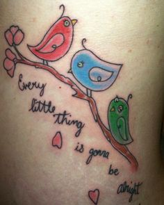 3 little birds tattoo inspired by the Bob Marley song