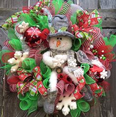Snowman Wreath Christmas Wreath Christmas Mesh by BaBamWreaths