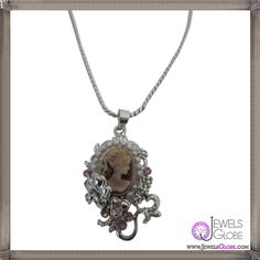 Cameo Pendant Necklace Amethyst victorian Cameo Lady Pendant Necklace