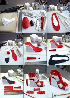 High heel gumpaste shoe step-by-step by ~Verusca on deviantART.  Very much adaptable for PC