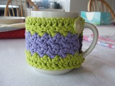 Crocheted Mug Cozy - lime green & lavender with 2 vintage buttons