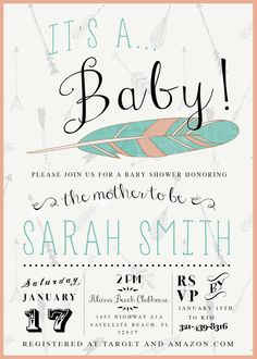 Boho Unisex Baby Shower Invitation with Feather and Arrows in Coral and Aqua by kreynadesigns