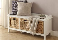 Shop for Entryway - Overstock.com Storage Bench With Baskets, White Storage Bench, Upholstered Storage Bench, Storage Benches, Bedroom Bench With Storage, Modern Storage Bench, Entryway Bench Storage, Storage Bench For Bedroom, Bathroom Bench Seat