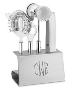 Monogrammed stainless steel bar tools set