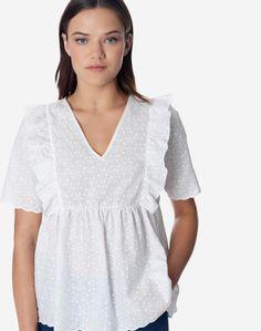 Μπλούζα ασπροκέντημα με βολάν | Regalinas Cold Shoulder Dress, Tops, Dresses, Women, Fashion, Vestidos, Moda, Fashion Styles, Dress