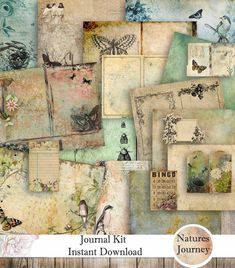 Natures Journey Junk Journal Kit - Instant Digital Download - Ready to Print - Paper Crafts - Scrapbooking - Digital Paper - Junk Journal