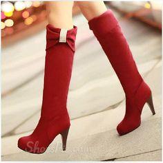 Korean Sweet Girl Rhinestone Stiletto Heel Knee High Heel Boots