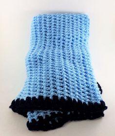 Handmade Crochet Blue Baby Boy Crib Blanket Afghan Shawl Lap 49 by 43 #Handmade