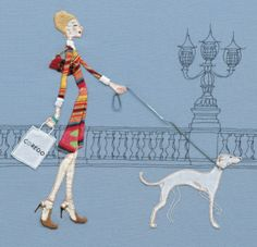 striped lady and dog