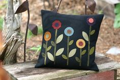 Wool Applique Pillow