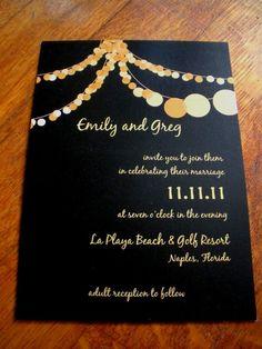 The Hilary Modern Party Lights Wedding Invitation