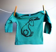 Rumpy Bunny Long Sleeve T by WrenWillow: Screen printed onto 100% cotton, size 6 - 12 mos. $24.
